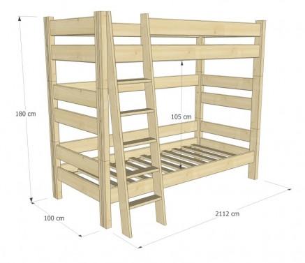 Etážová postel Sendy, výška 180 cm - BUK č.4