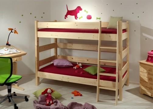 Etážová postel Sendy, výška 155 cm - Smrk přírodní