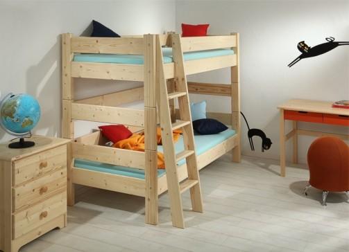 Etážová postel Sendy, výška 155 cm - Smrk přírodní č.2