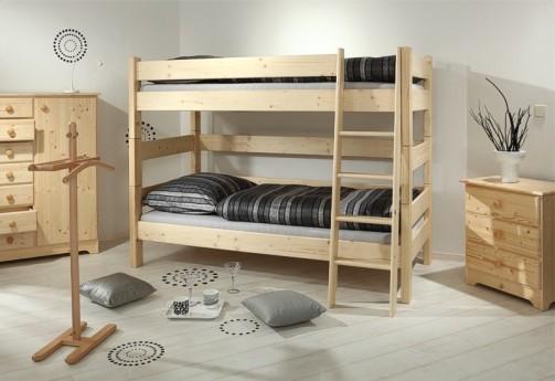 Etážová postel Sendy, výška 155 cm - Smrk přírodní č.3