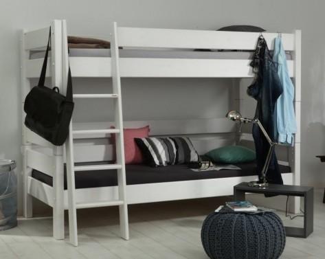 Etážová postel Sendy , výška 180 cm - Smrk/Bílá