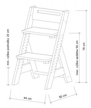 Dětská rostoucí židle ZUZU - přírodní č.3