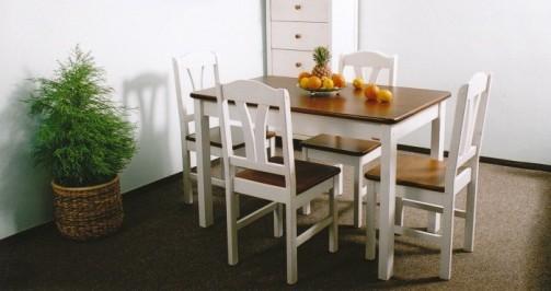 Jídelní stůl 124x78 bílo-hnědá