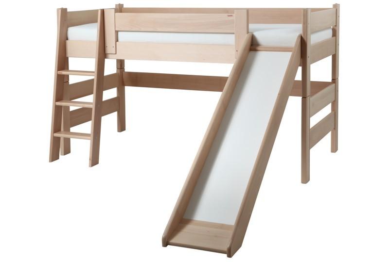 Etážová postel Sendy nízká se skluzavkou - Buk